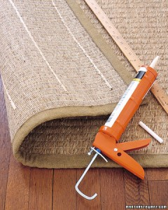 rug liner using caulk